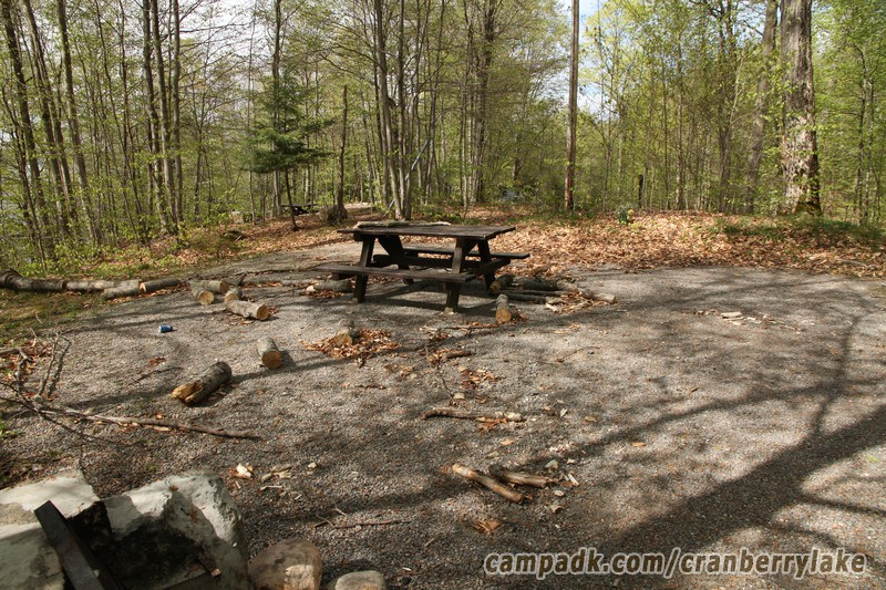 Campsite Photo of Site 20 at Cranberry Lake Campground, New York - Cross Site View