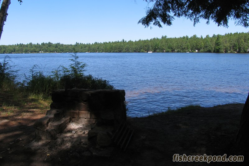 Campsite Photo of Site 227 at Fish Creek Pond Campground, New York - Fireplace View