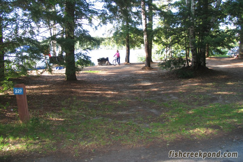 Campsite Photo of Site 227 at Fish Creek Pond Campground, New York - Looking at Site from Road Sign Visible