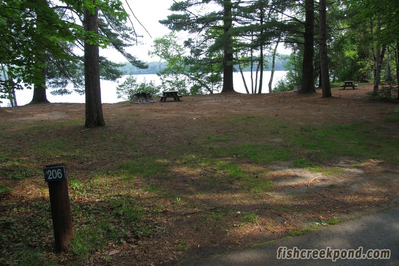 Campsite Photo of Site 206 at Fish Creek Pond Campground, New York - Looking at Site from Road Sign Visible