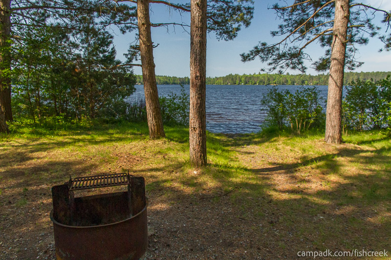 Campsite Photo of Site 87 at Fish Creek Pond Campground, New York - Fireplace View