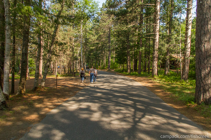 Campsite Photo of Site 87 at Fish Creek Pond Campground, New York - View Down Road from Campsite
