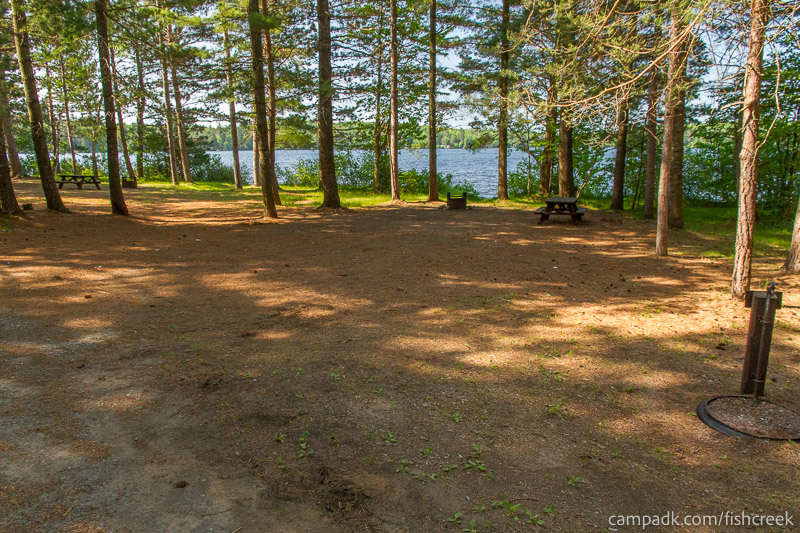 Campsite Photo of Site 88 at Fish Creek Pond Campground, New York - Looking at Site from Road