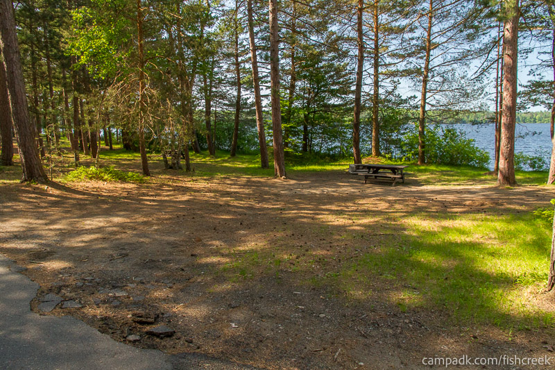 Campsite Photo of Site 90 at Fish Creek Pond Campground, New York - Looking at Site from Road