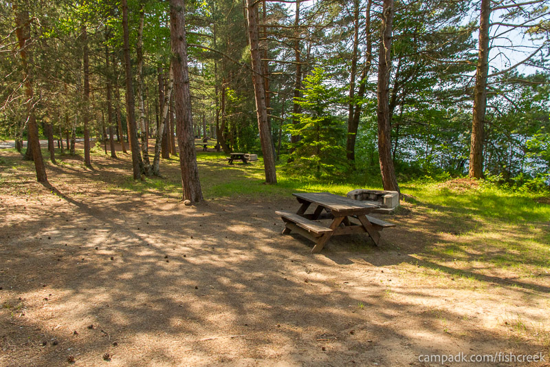 Campsite Photo of Site 90 at Fish Creek Pond Campground, New York - Cross Site View
