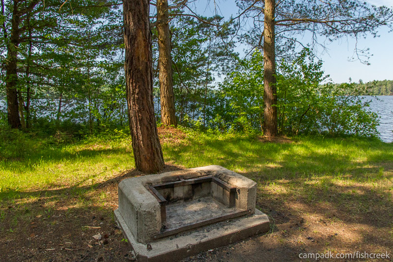 Campsite Photo of Site 90 at Fish Creek Pond Campground, New York - Fireplace View