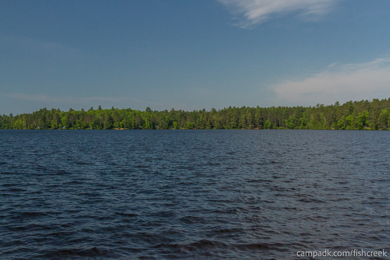 Campsite Photo of Site 90 at Fish Creek Pond Campground, New York - View from Shoreline