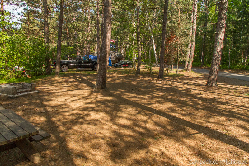 Campsite Photo of Site 93 at Fish Creek Pond Campground, New York - Cross Site View