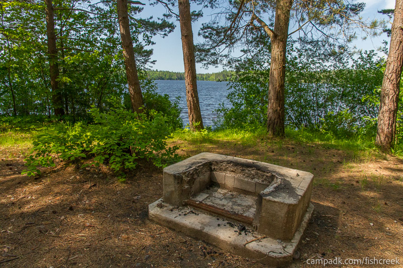 Campsite Photo of Site 93 at Fish Creek Pond Campground, New York - Fireplace View