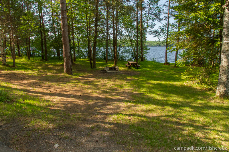 Campsite Photo of Site 96 at Fish Creek Pond Campground, New York - Looking at Site from Road