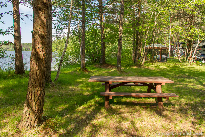 Campsite Photo of Site 96 at Fish Creek Pond Campground, New York - Cross Site View