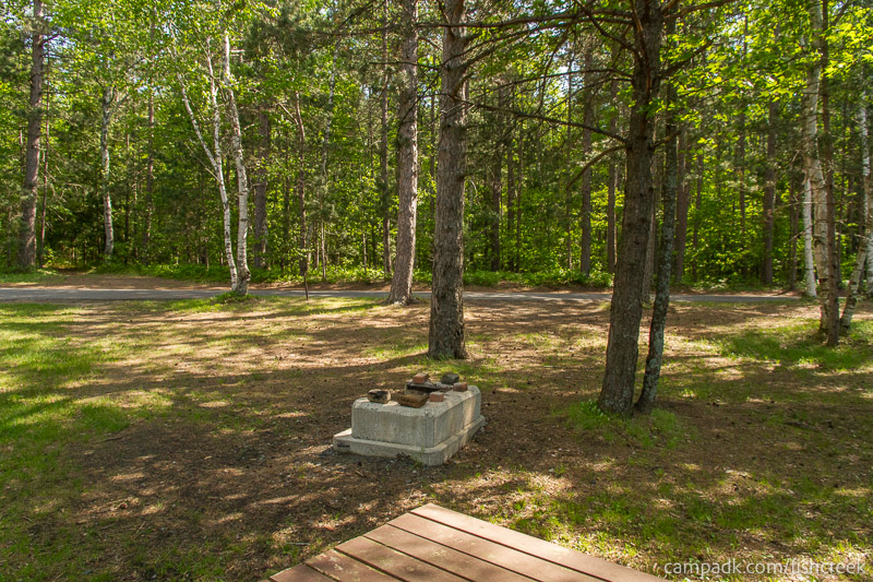 Campsite Photo of Site 96 at Fish Creek Pond Campground, New York - Looking Back Towards Road