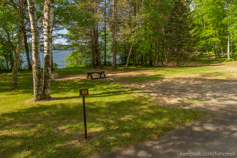 Campsite Photo of Site 99 at Fish Creek Pond Campground, New York - Looking at Site from Road Sign Visible