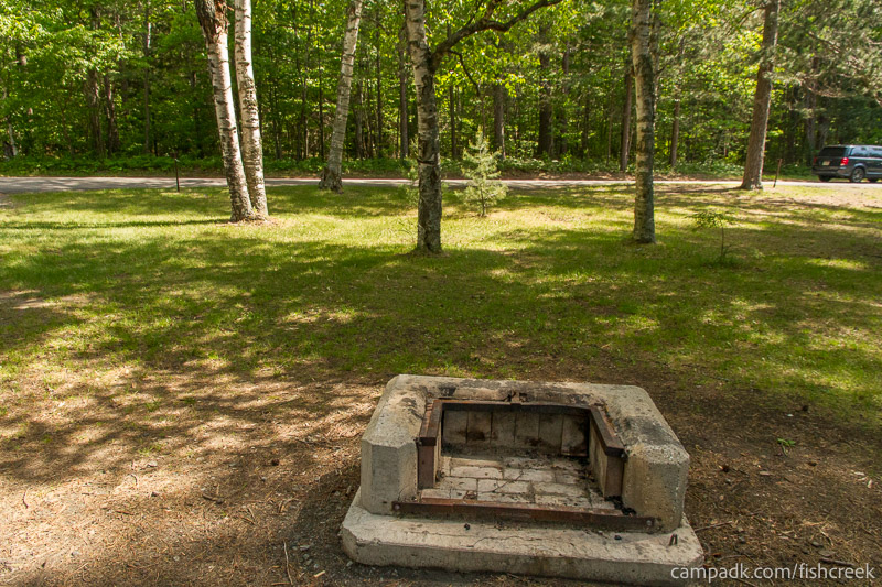 Campsite Photo of Site 99 at Fish Creek Pond Campground, New York - Fireplace View