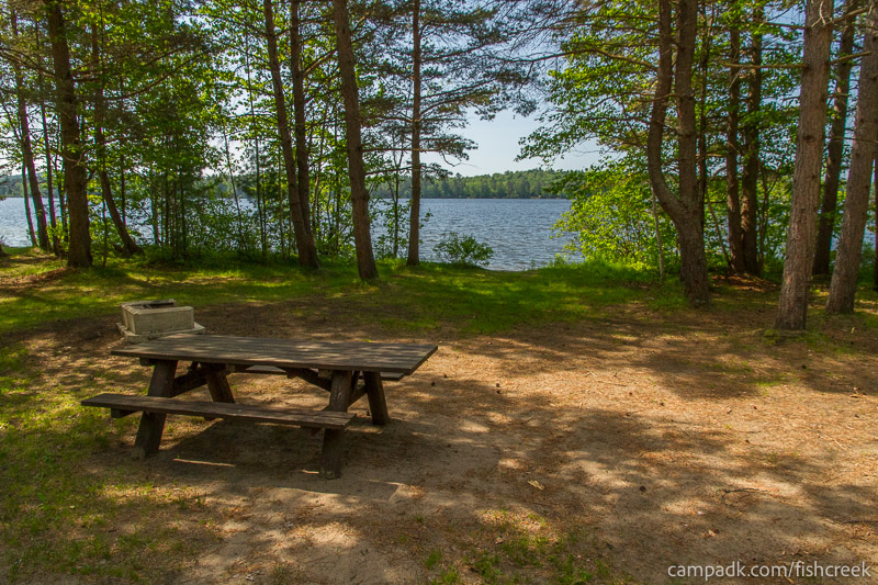 Campsite Photo of Site 99 at Fish Creek Pond Campground, New York - Looking at Site from Part Way In