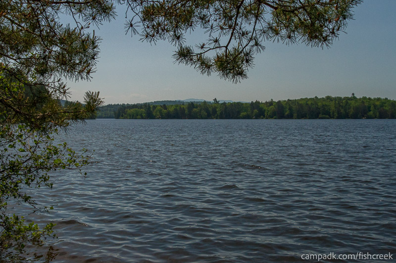 Campsite Photo of Site 100 at Fish Creek Pond Campground, New York - View from Shoreline