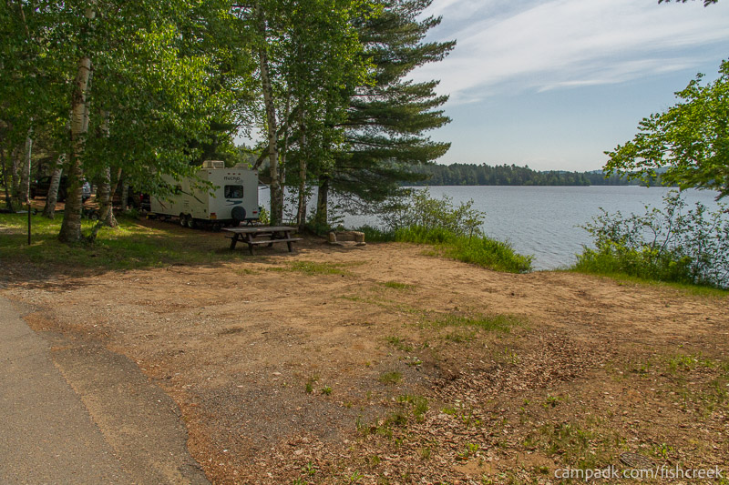 Campsite Photo of Site 111 at Fish Creek Pond Campground, New York - Looking at Site from Road