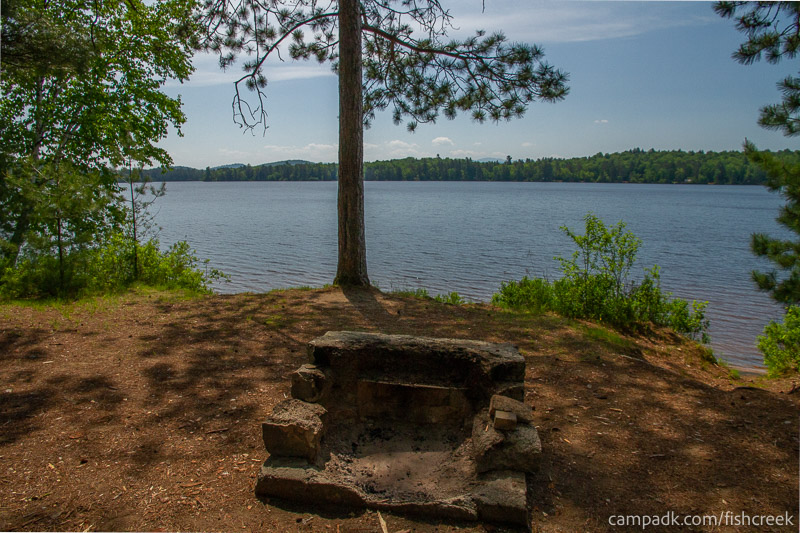 Campsite Photo of Site 116 at Fish Creek Pond Campground, New York - Fireplace View