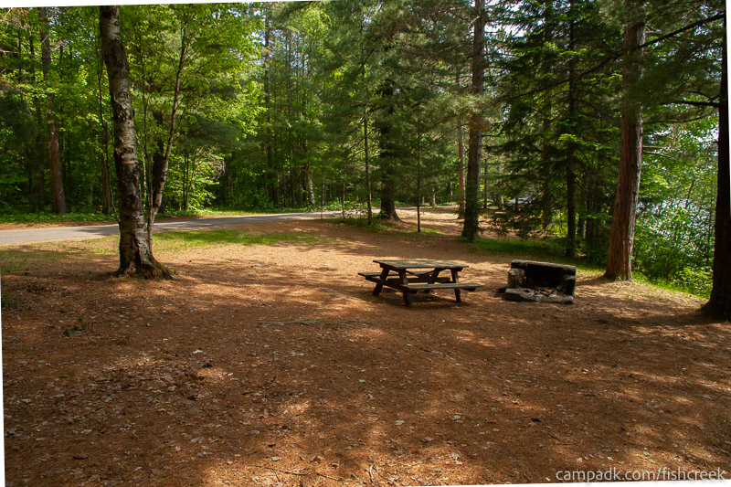 Campsite Photo of Site 125 at Fish Creek Pond Campground, New York - Cross Site View