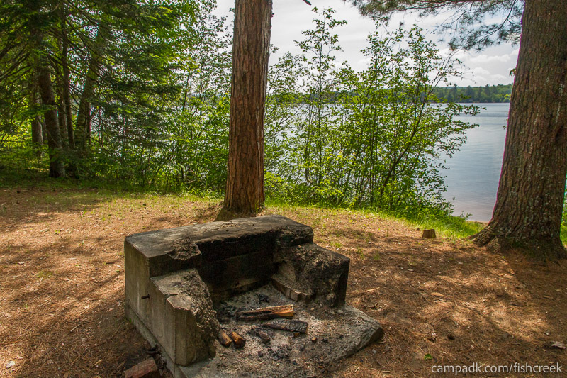 Campsite Photo of Site 125 at Fish Creek Pond Campground, New York - Fireplace View