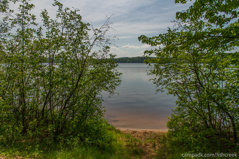 Campsite Photo of Site 125 at Fish Creek Pond Campground, New York - Shoreline and View