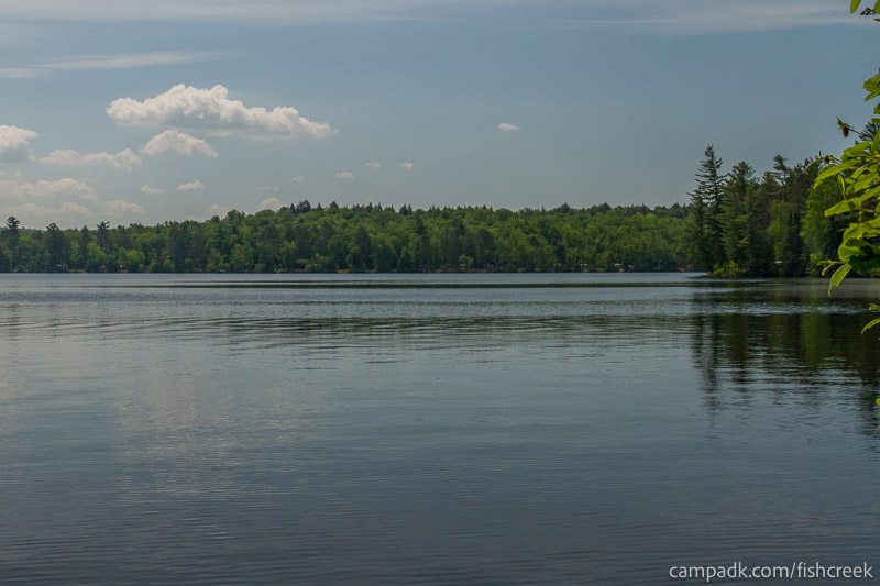 Campsite Photo of Site 125 at Fish Creek Pond Campground, New York - View from Shoreline