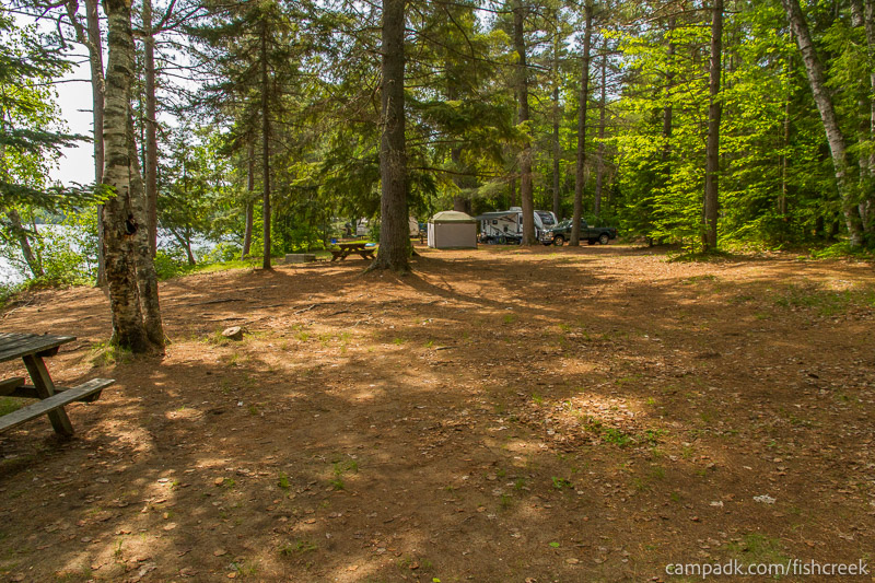 Campsite Photo of Site 138 at Fish Creek Pond Campground, New York - Cross Site View