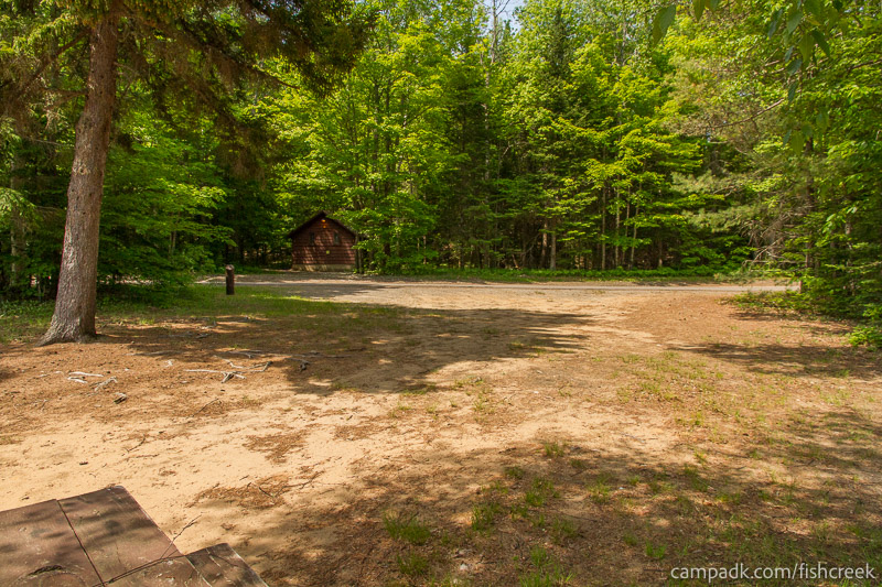 Campsite Photo of Site 143 at Fish Creek Pond Campground, New York - Looking Back Towards Road