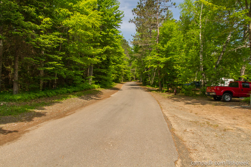 Campsite Photo of Site 143 at Fish Creek Pond Campground, New York - View Down Road from Campsite