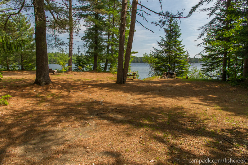 Campsite Photo of Site 145 at Fish Creek Pond Campground, New York - Looking at Site from Part Way In
