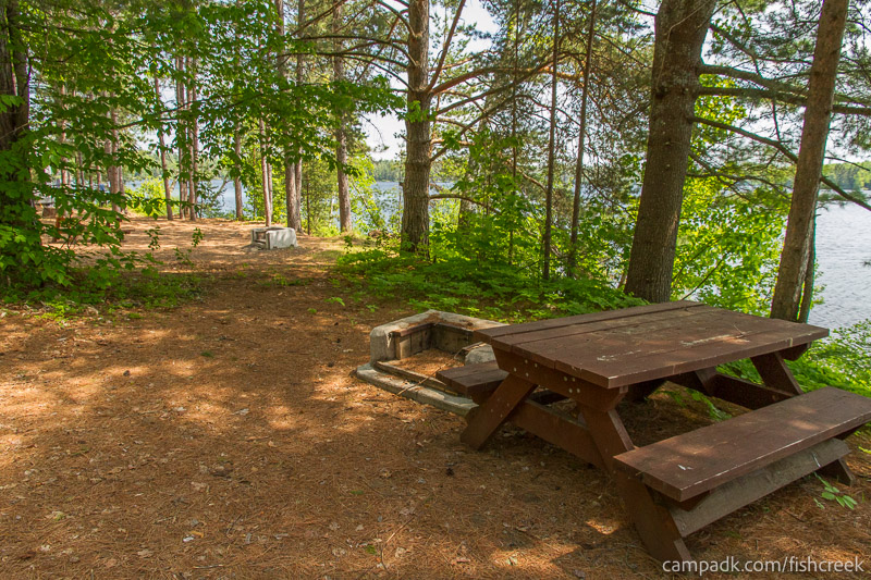 Campsite Photo of Site 152 at Fish Creek Pond Campground, New York - Fireplace View