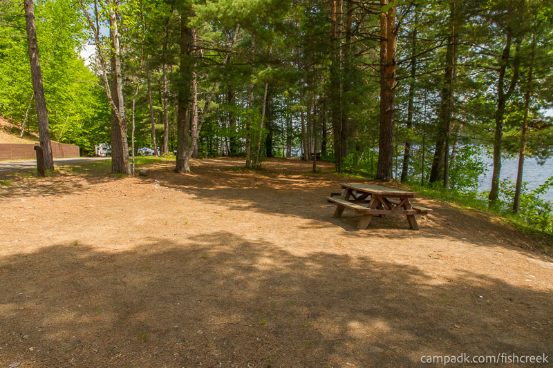 Campsite Photo of Site 153 at Fish Creek Pond Campground, New York - Cross Site View