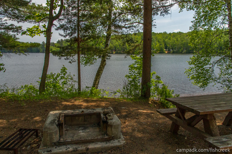 Campsite Photo of Site 153 at Fish Creek Pond Campground, New York - Fireplace View