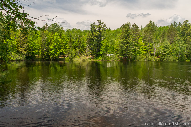 Campsite Photo of Site 170 at Fish Creek Pond Campground, New York - View from Shoreline
