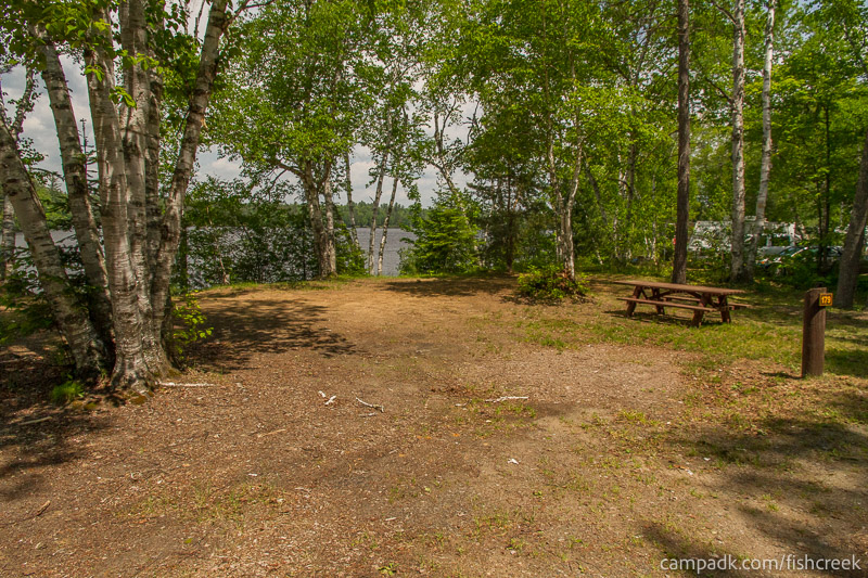 Campsite Photo of Site 179 at Fish Creek Pond Campground, New York - Looking at Site from Road Sign Visible