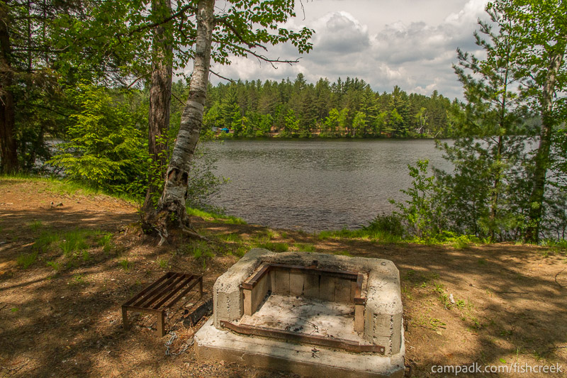 Campsite Photo of Site 179 at Fish Creek Pond Campground, New York - Fireplace View