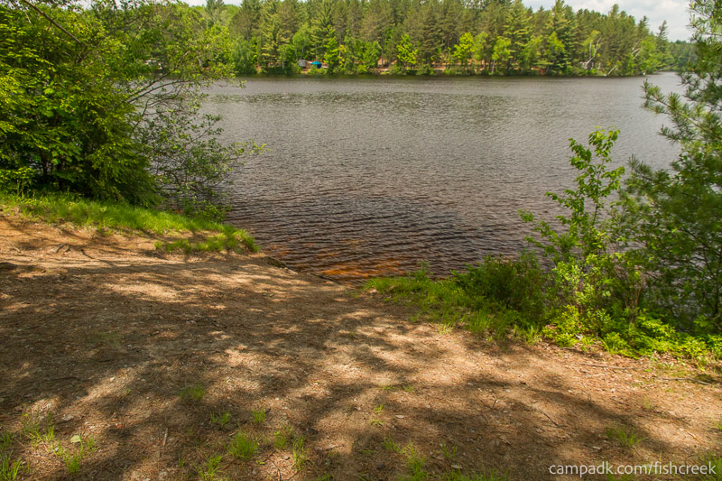 Campsite Photo of Site 179 at Fish Creek Pond Campground, New York - Pathway Down to Water
