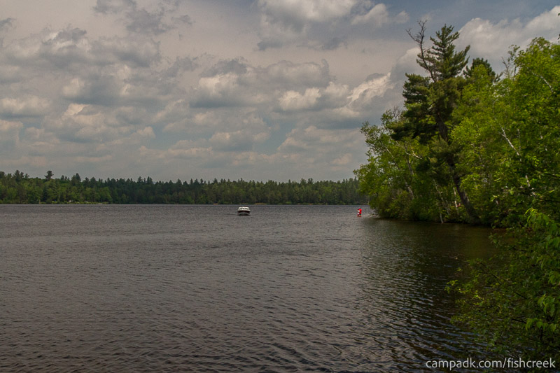 Campsite Photo of Site 179 at Fish Creek Pond Campground, New York - View from Shoreline