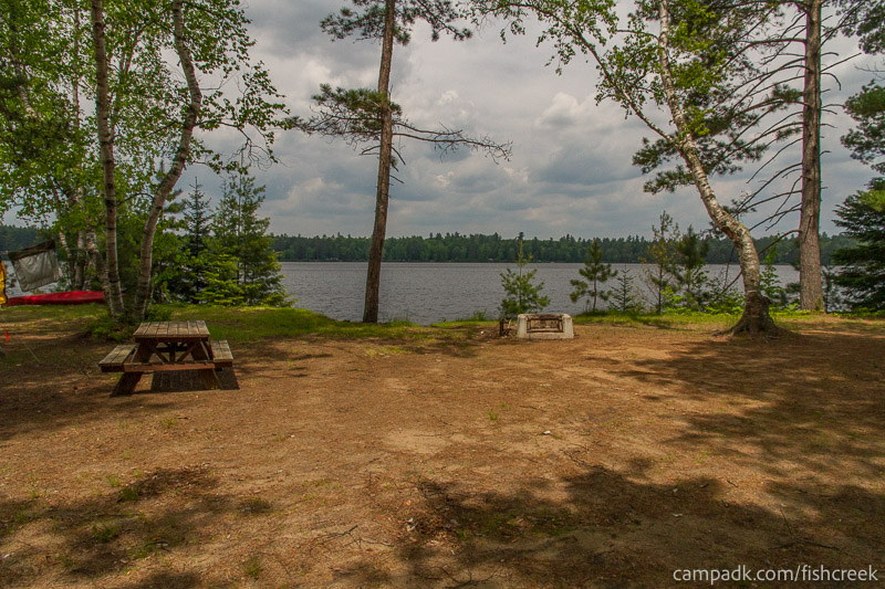 Campsite Photo of Site 200 at Fish Creek Pond Campground, New York - Looking at Site from Part Way In