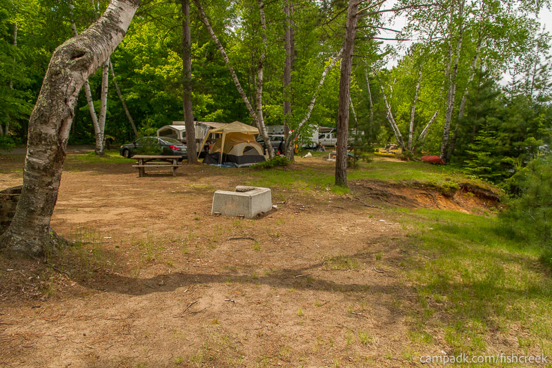 Campsite Photo of Site 200 at Fish Creek Pond Campground, New York - Cross Site View