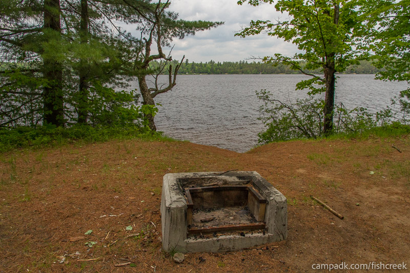 Campsite Photo of Site 203 at Fish Creek Pond Campground, New York - Fireplace View