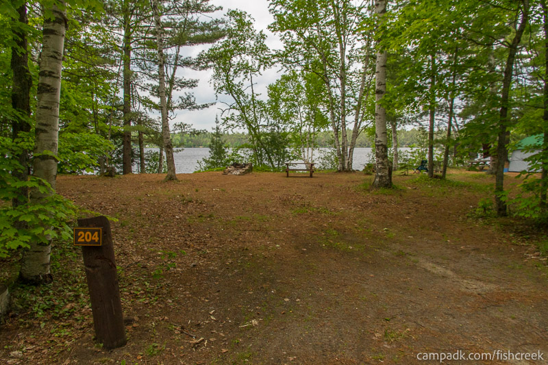 Campsite Photo of Site 204 at Fish Creek Pond Campground, New York - Looking at Site from Road Sign Visible