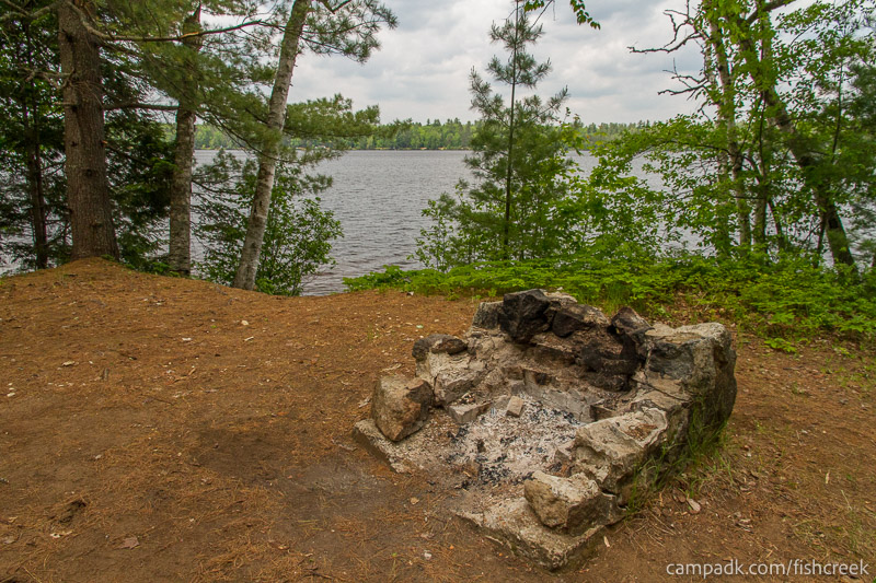 Campsite Photo of Site 204 at Fish Creek Pond Campground, New York - Fireplace View