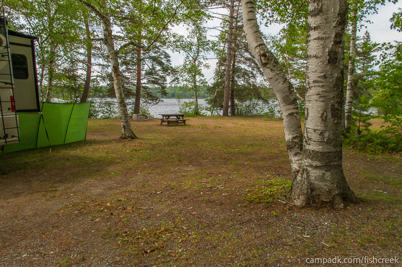 Campsite Photo of Site 213 at Fish Creek Pond Campground, New York - Looking at Site from Road