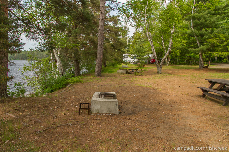 Campsite Photo of Site 213 at Fish Creek Pond Campground, New York - Cross Site View