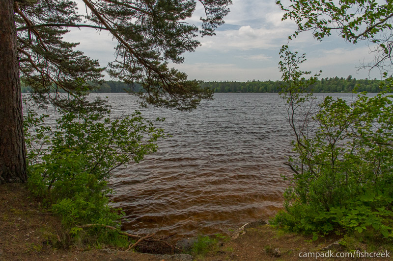Campsite Photo of Site 213 at Fish Creek Pond Campground, New York - View from Shoreline