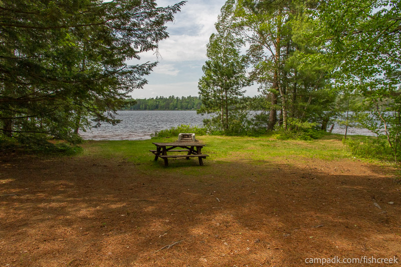 Campsite Photo of Site 217 at Fish Creek Pond Campground, New York - Looking at Site from Part Way In