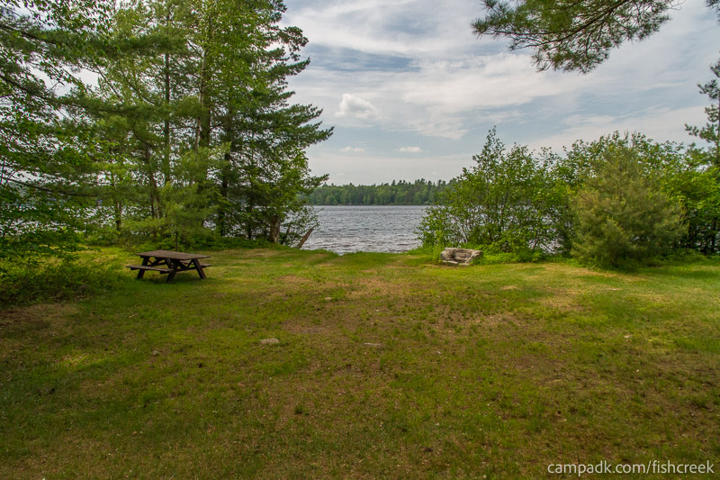 Campsite Photo of Site 218 at Fish Creek Pond Campground, New York - Looking at Site from Part Way In