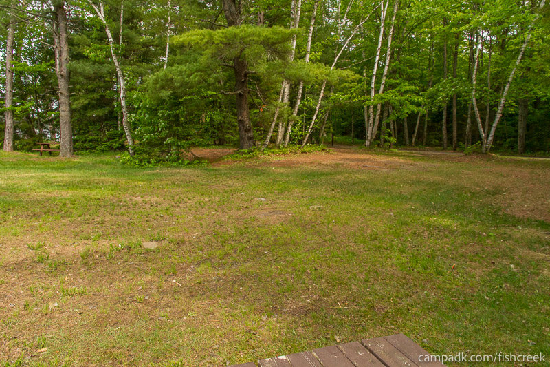 Campsite Photo of Site 218 at Fish Creek Pond Campground, New York - Cross Site View