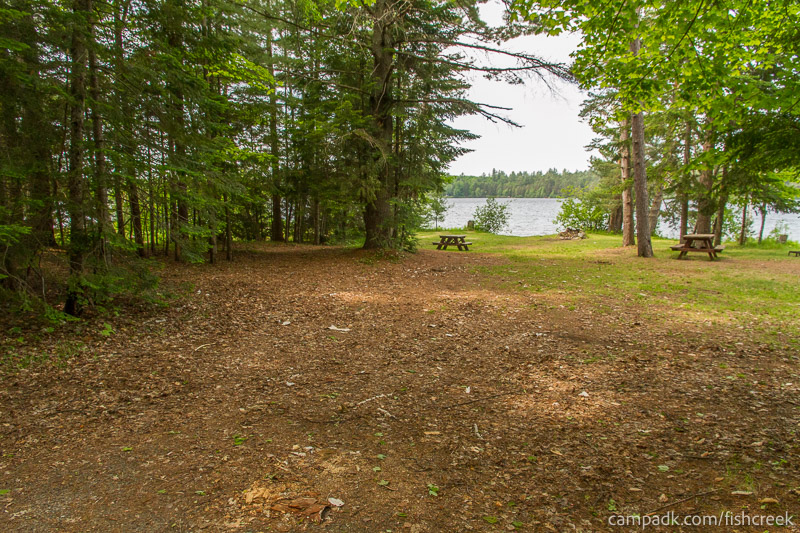 Campsite Photo of Site 220 at Fish Creek Pond Campground, New York - Looking at Site from Road